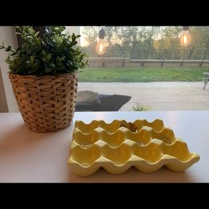 Yellow Ceramic Egg Tray and Jewelry Organizer